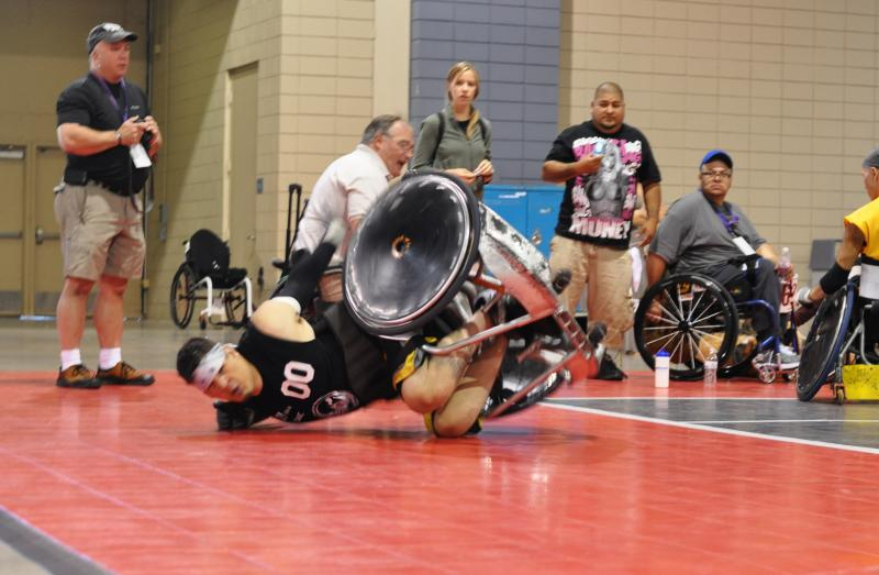Mason Symons, U.S. Army Veteran takes a spill at the 32nd National Veterans Wheelchair Games.