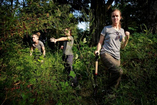 USF students (l-r) Ashley Maxwell, Cristina Kelbaugh and Meredith Tise search Friday for markers that indicate grave sites in thick underbrush at the Boot Hill cemetery.