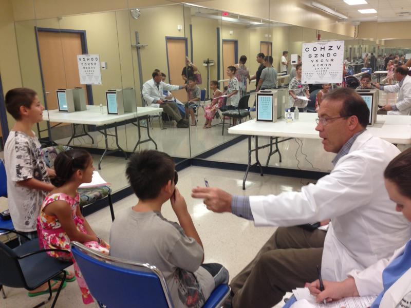 Vision screenings at the health fair.