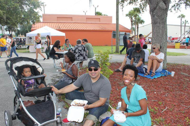 WUSF reporter Dalia Colon sampled the food truck fare with her husband, Braulio, and 1-year-old daughter, Norah.