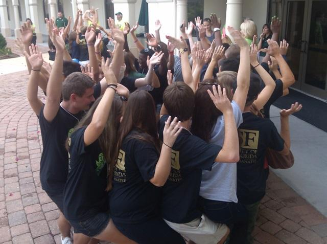 USFSM freshmen take part in a 'team-building' exercise
