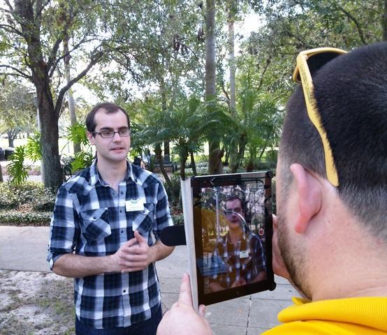 USF Student Govt. Senator Colton Canton (left) delivers a plea to Florida lawmakers on education funding as fellow Senator Christopher Cano records.