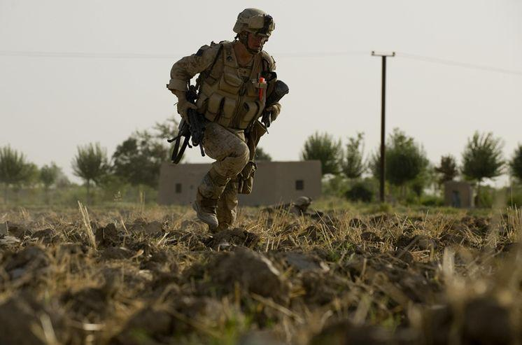Justin Gaertner under fire from Taliban insurgents in Afghanistan during his second deployment there.