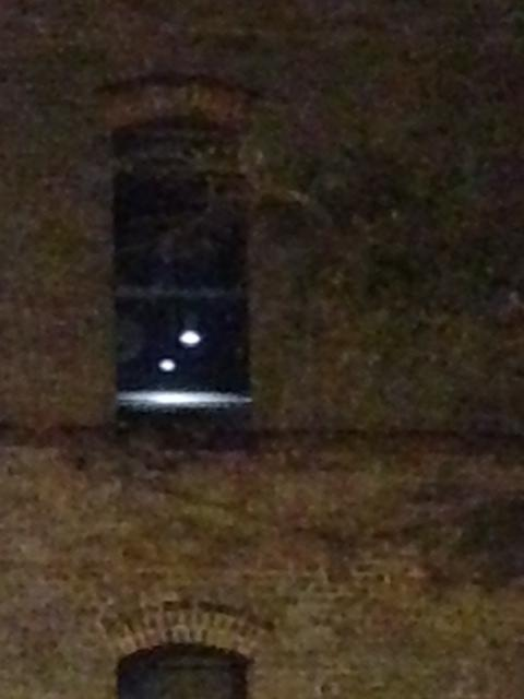 Besides the two hanging lights, supposedly, Irene Randall can be seen through this window.