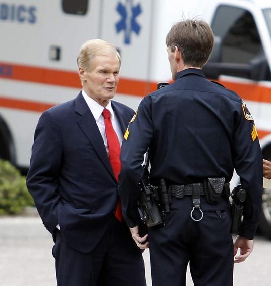 U.S. Sen. Bill Nelson outside the church