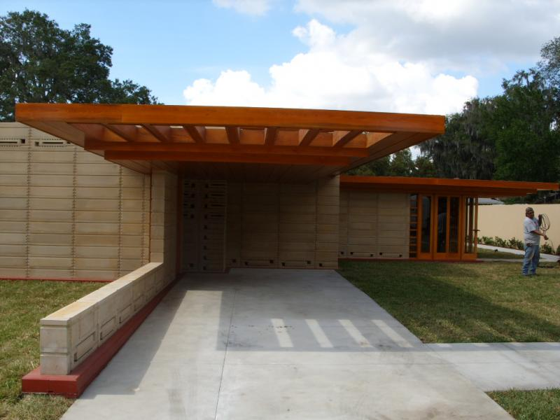 Carport of the new Wright home