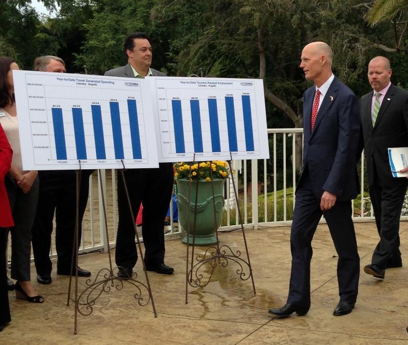 Gov. Rick Scott at Busch Gardens in Tampa.
