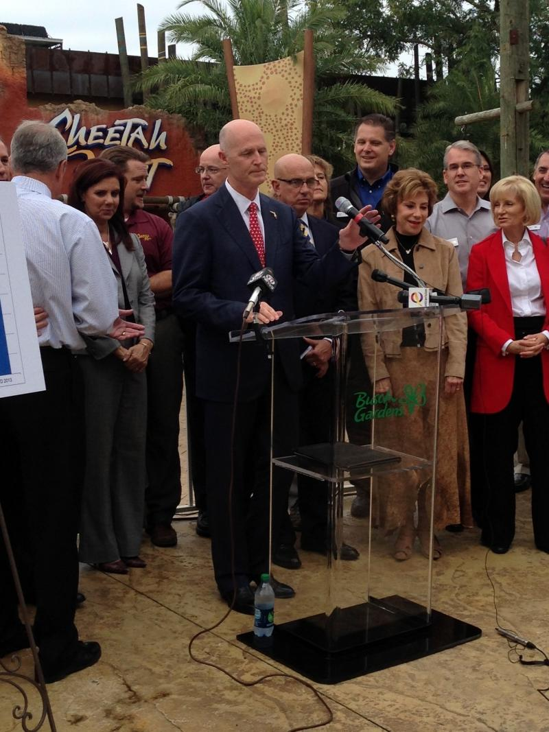 At Busch Gardens in Tampa Friday morning, Gov. Rick Scott said more people than ever are visiting Florida.