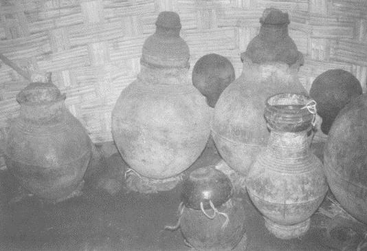 Large jars the Gamo use to ferment beer
