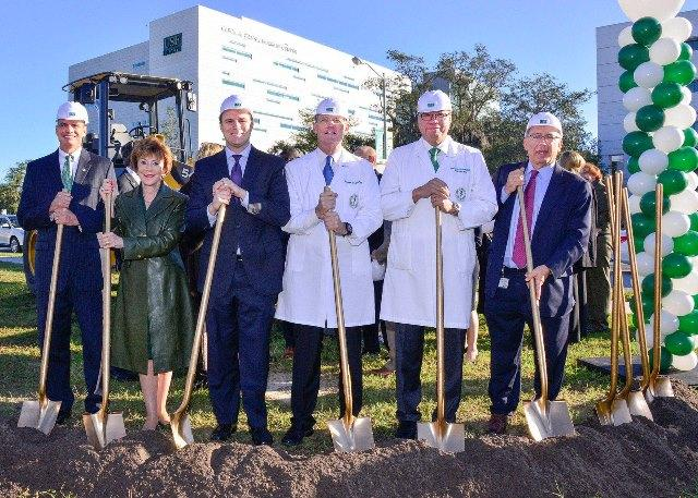L to R: Mark Sharpe, Hillsborough Co. Commissioner; President Judy Genshaft; Will Weatherford, House speaker; Dr. Stephen Liggett, vice dean for research; Dr. Harry van Loveren, USF Health interim dean; Dr. Arthur Labovitz,  chair, Cardiovascular Sciences
