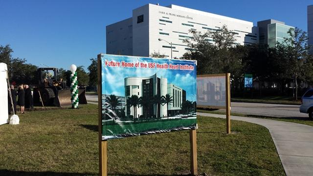 The site for the USF Health Heart Institute is in the middle of the USF Health campus; the Morsani Center for Advanced Healthcare is in the background