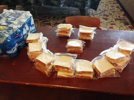 Vaneesha prepared peanut butter and jelly sandwiches and bought water that she dropped off at Good Samaritan Inn