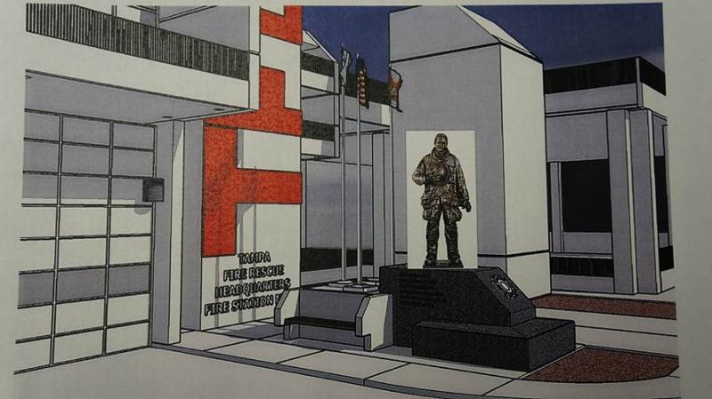 An artist's rendering of the planned memorial outside the TFR Headquarters in downtown Tampa