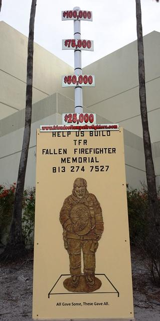 A display outside TFR Headquarters tracks the fund-raising progress for the memorial