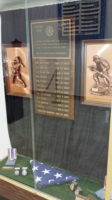 The current memorial is on the first floor of Tampa Fire Rescue Headquarters