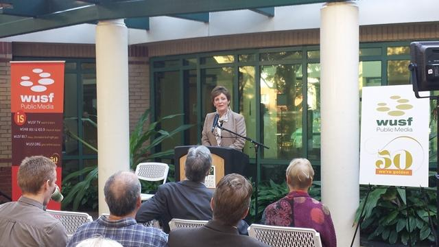 WUSF General Manager JoAnn Urofsky addresses the crowd.