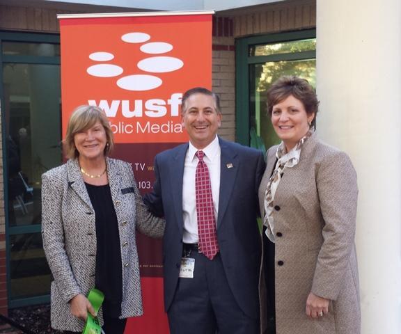 USF St. Pete Regional Chancellor Sophia Wisniewska, St. Petersburg Mayor Rick Kriseman & WUSF General Manager JoAnn Urofsky