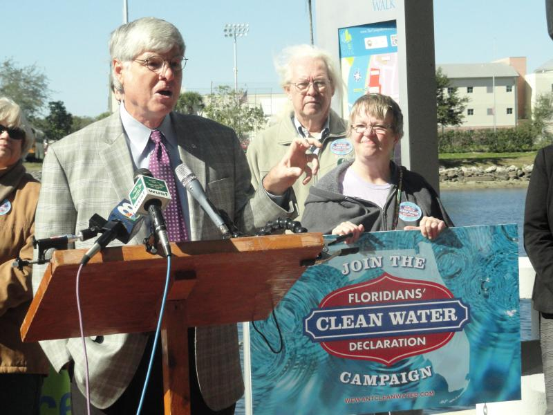 Friends of the River board member Rich Brown signed the clean water declaration at Wednesday's rally.