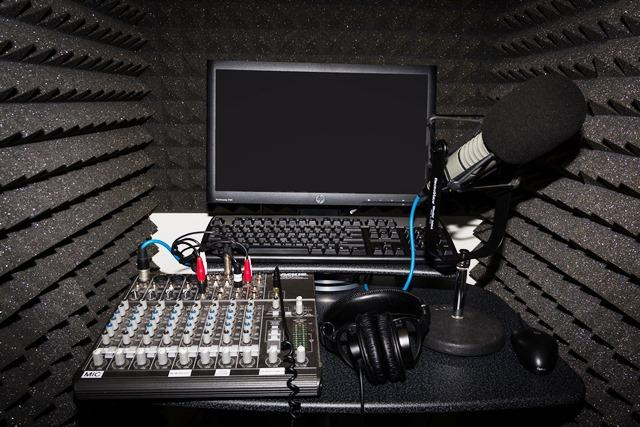 Equipment in the recording booth in the new WUSF studio at USF St. Petersburg
