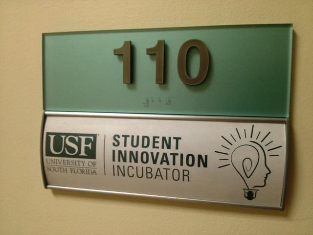 Sign for the USF Student Innovation Incubator