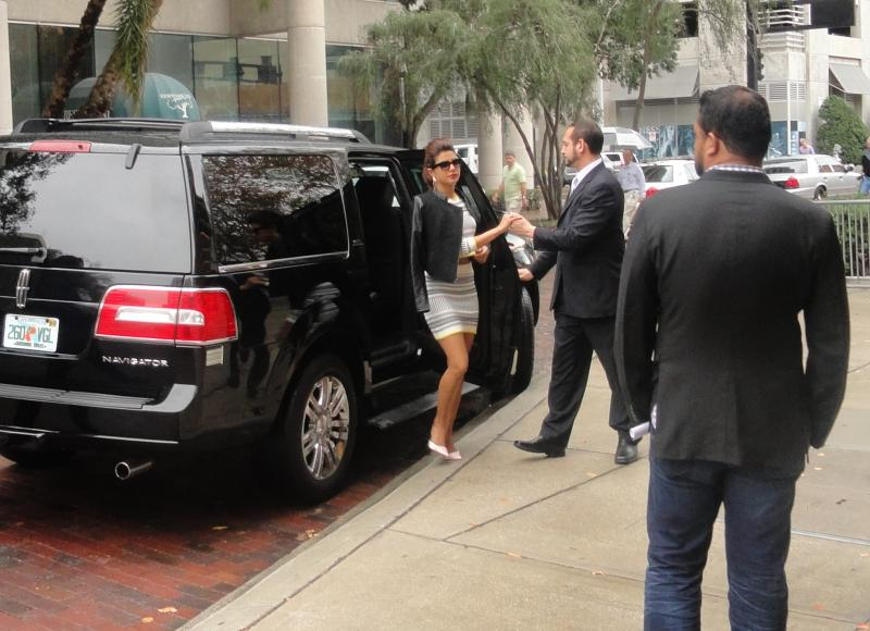 Film star Priyanka Chopra makes her entrance outside the Tampa Theatre