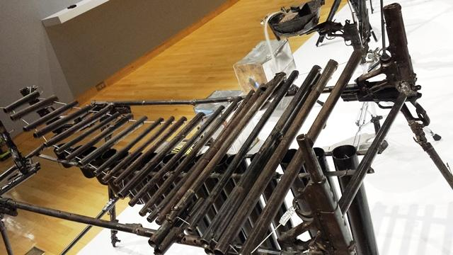 Xylephone, also made out of various lengths of sawed-off gun barrels