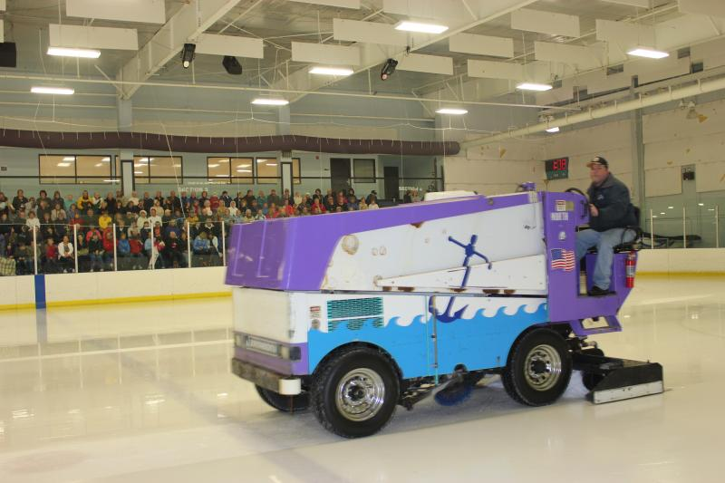 A Zamboni operator clears the ice at Ellenton Ice and Sports Complex.