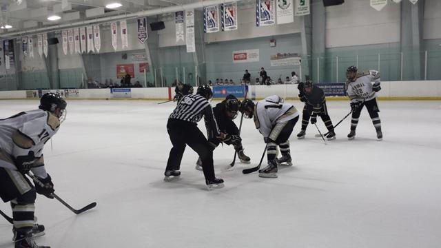 The USF Ice Bulls (dark jerseys) prepare to face off against UCF at a  recent game. 57b689f6422