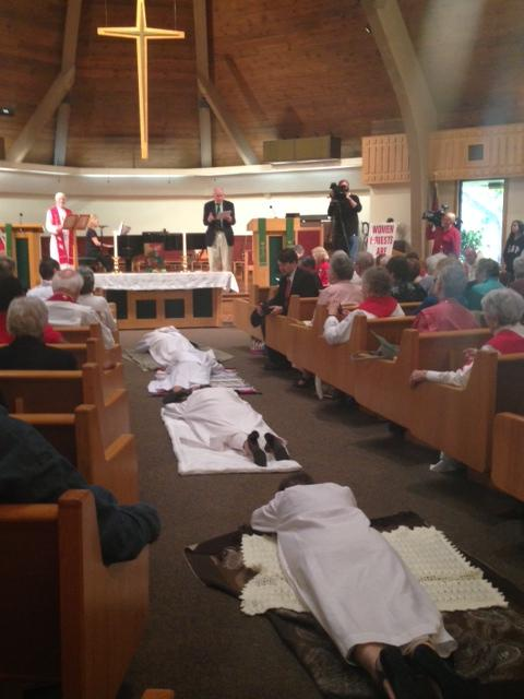 The soon-to-be ordained priests and deacons participated in a ritual.