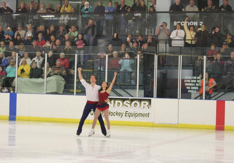Olympic figure skaters Nathan Bartholomay and Felicia Zhang perform a dress rehearsal at the Ellenton rink where they train.