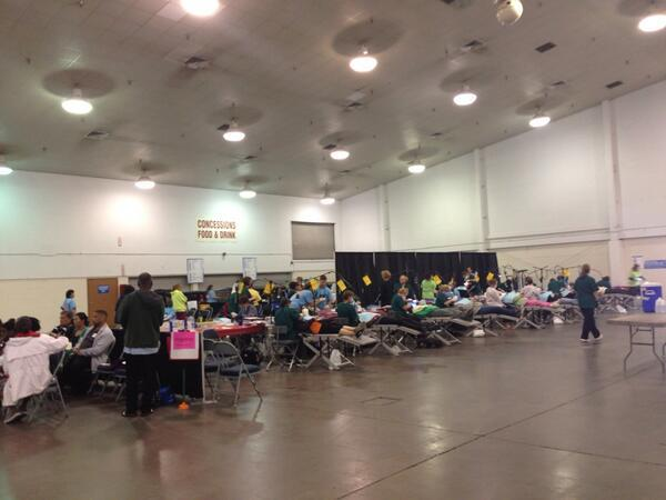 Patients getting dental care at the Florida Dental Association's Mission of Mercy event on Friday, March 28 at the Florida State Fairgrounds.