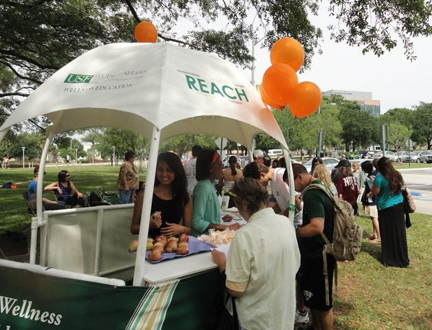 Wellness USF representatives handed out healthy snacks to students between exams