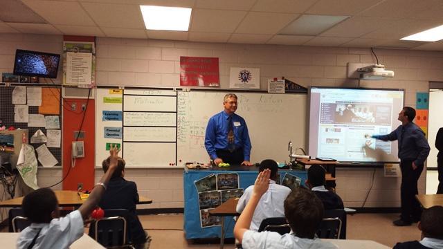 Dave Kotun, Director of USF's Physican Asst. Program, addresses a class at Franklin.