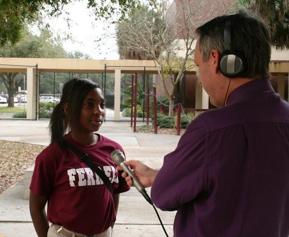 WUSF's Mark Schreiner interviews Ferrell 8th grader Saniya Malphus.