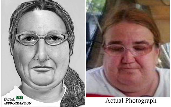 """Left: facial composite put together by Dr. Erin Kimmerle using a 3-D facial reconstruction of a skull and other information found at a Sumter Co. crime scene.  Right, a photo of Martha """"Jane"""" Wever, who was positively identified because of the composite."""