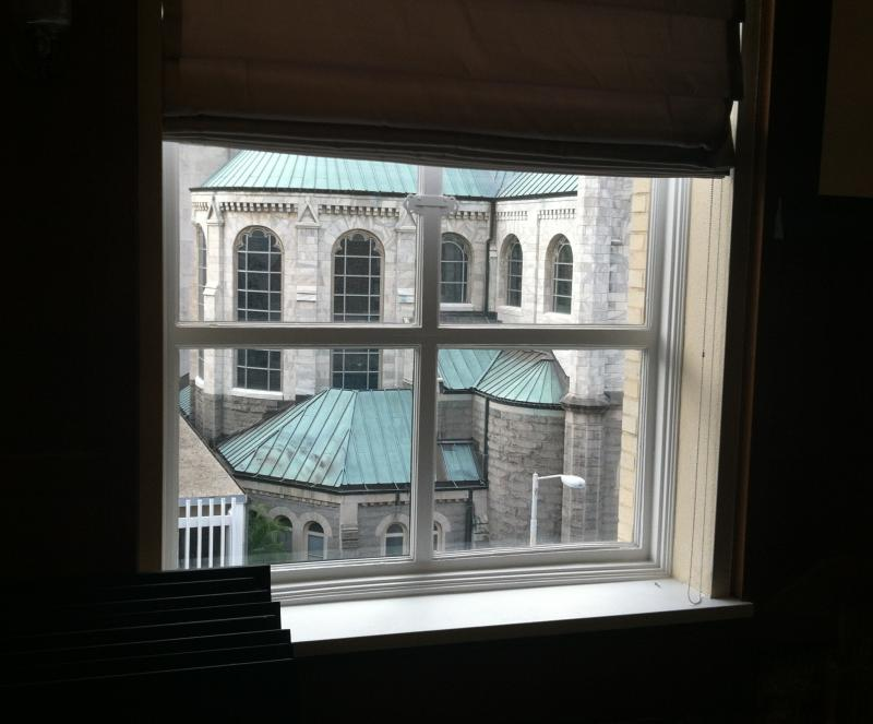 Looking out of the south windows from the ceremonial courtroom