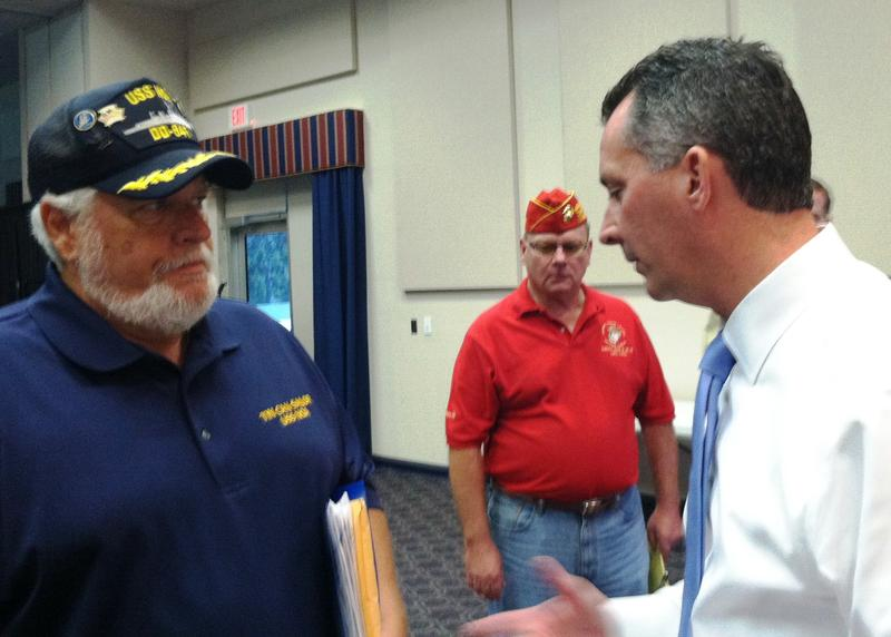 Navy veteran Robert Barrie meeting with Cong. David Jolly about getting his ship, USS NOA, on the list for exposure to Agent Orange.