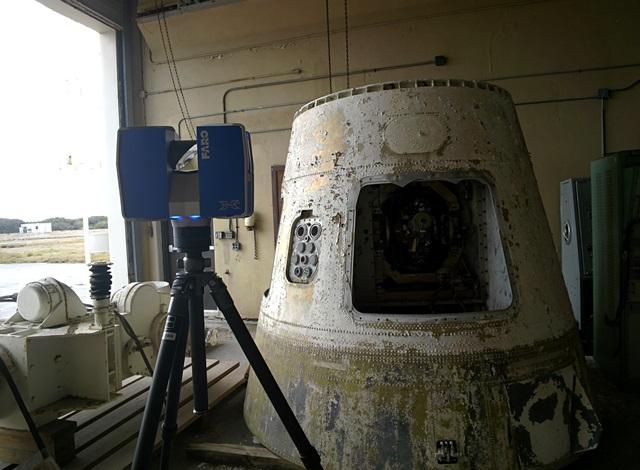 USF AIST 3D scans a capsule used in training at Cape Canaveral's Launch Complex 4 BOMARC building.