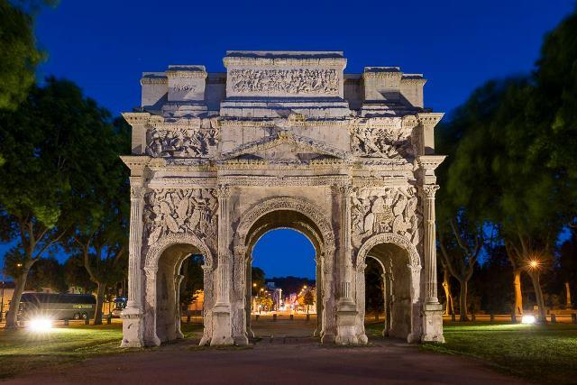 The Triumphal Arch of Orange in France is slowly disintegrating because of time and the elements.