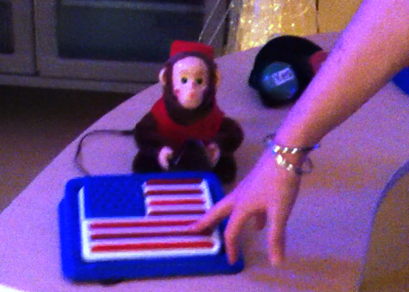 By pushing on the flag-shaped button, traumatic brain injury patients can activate the toy monkey to play its cymbals and squeak.
