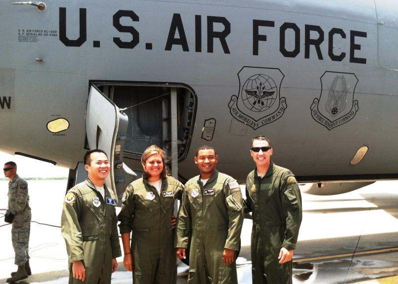 Col. DeThomas (far right) poses with the crew from his final flight as an Air Force pilot and commander.