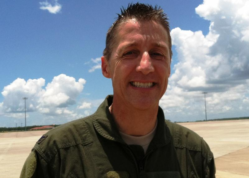 Col. Scott DeThomas, MacDill AFB and 6th Air Mobility Wing Commander, after his final flight in an Air Force uniform.