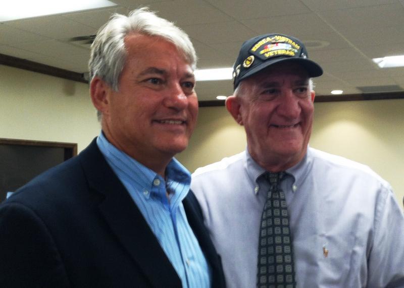 U.S. Rep. Dennis Ross (R-Lakeland) with Army veteran Luis Canino Mas at the Temple Terrace veterans intake.