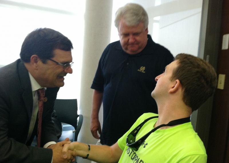 Congressman Gus Bilirakis (FL-R) made a special trip to James A. Haley VA to meet Army Ranger Cory Remsburg (Right) and his father, Craig Remsburg (center), after seeing them during the State of the Union address.