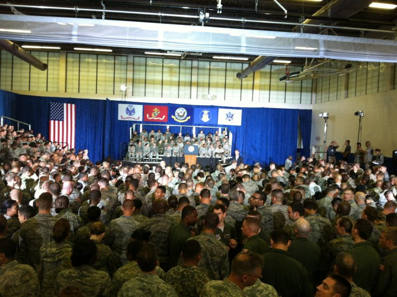 Approximately 1,200 service members jammed into the MacDill Sports Center to hear the president speak.