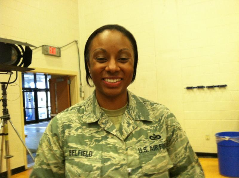 Tech Sgt. Tanika Belfield has served nearly 20 years in the Air Force and the mother of four children said she's trained and ready to deploy again if called.
