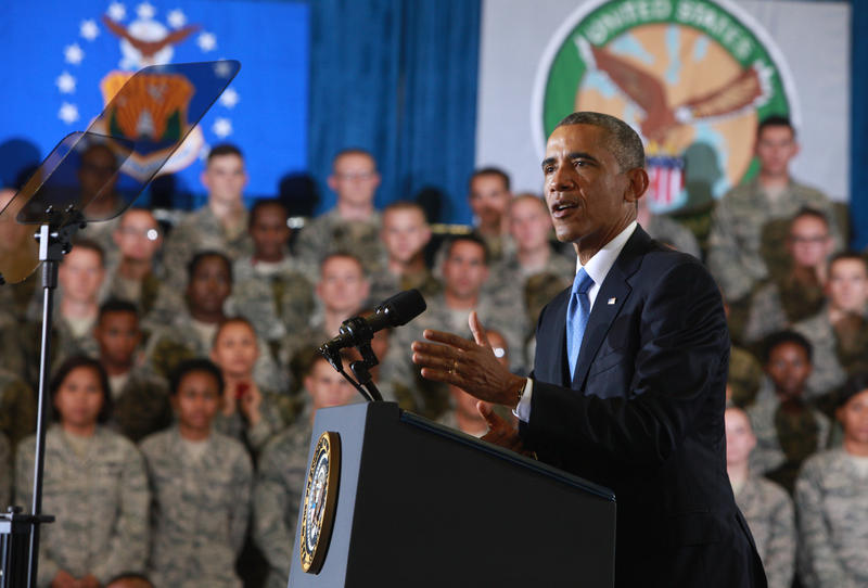 President Barack Obama addressing service members at MacDill Air Force Base, home to US Central Command, US Special Operations Command and the 6th Air Mobility Wing.