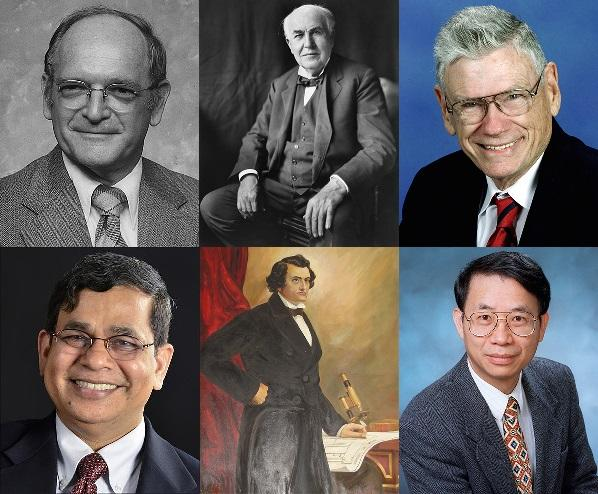 The first class of the Florida Inventors Hall of Fame (clockwise from top left: Robert Cade, Thomas Edison, William Glenn, Shin-Tson Wu, John Gorrie and Shyam Mohapatra)