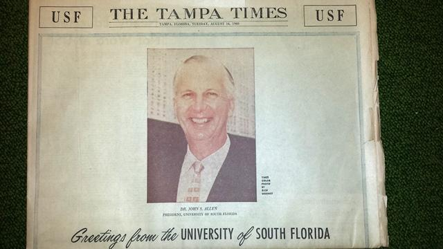 The Tampa Times from August 16, 1960, with USF's first President John Allen on the front page. USF's first day of class was held a month later.