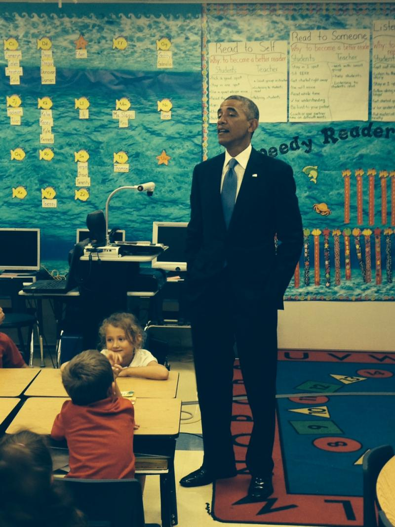President Obama talking with first graders at Tinker Elementary School in MacDill AFB.